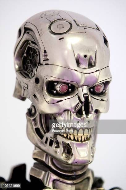 The robotic skull of a T800 cyborg used in the movie Terminator 2is displayed on the exhibition 'Fantastic SyFy Objects' at the Royal Tapestry...