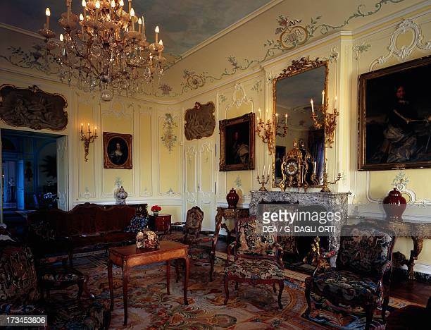 The Rocaille room with Louis XV furniture and armchairs by Pierre Nogaret, Dree Castle , built by Charles de Blanchefort Crequy, near Curbigny,...