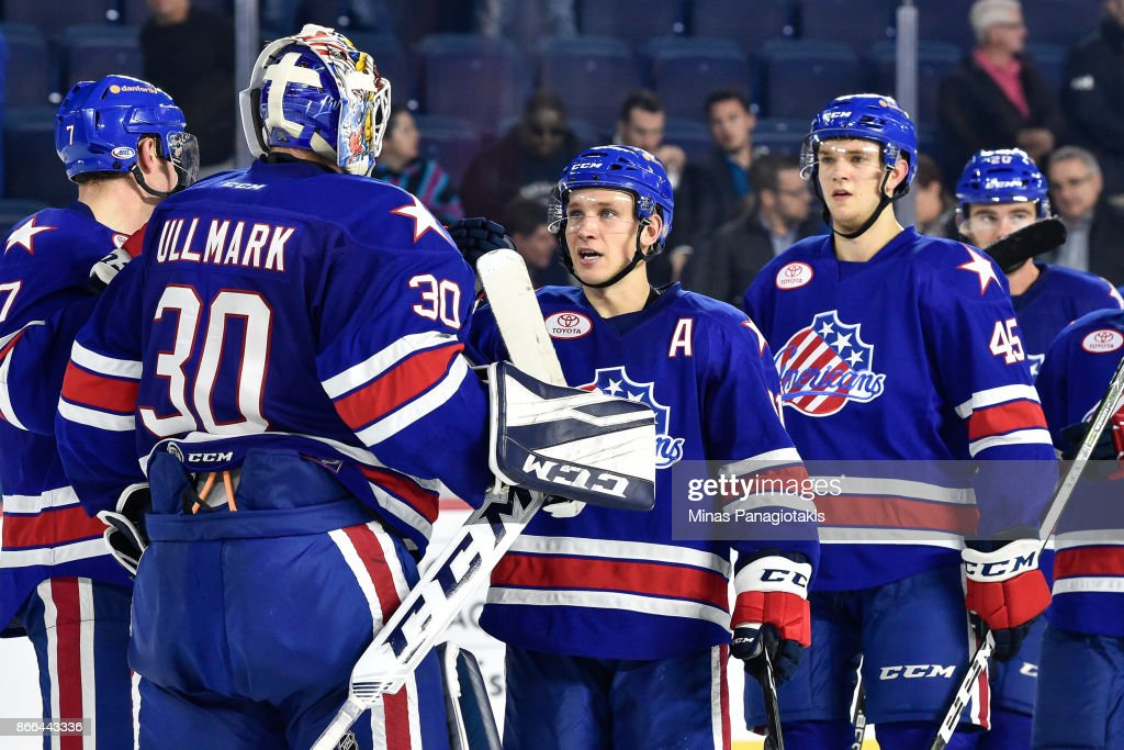 The Rochester Americans celebrate their victory against the Laval Rocket during the AHL game at Place Bell on October 25, 2017 in Montreal, Laval, Canada. The Rochester Americans defeated the Laval Rocket 5-2.