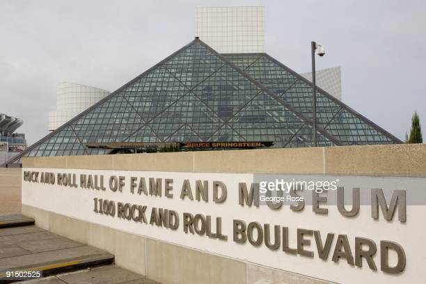 The Rock and Roll Hall of Fame Museum building designed by architect by I M Pei is seen in this 2009 Cleveland Ohio early morning city landscape photo