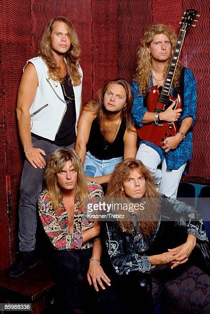 The Rock Band Europe posed in New York 1991 Clockwise from top left Ian Haugland Kee Marcello Joey Tempest John Leven centre Mic Michaeli