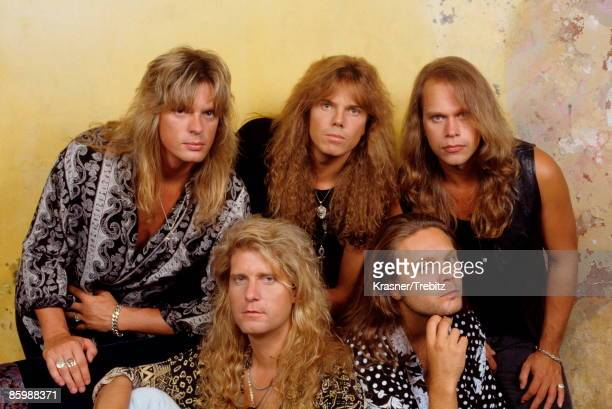 The Rock Band Europe posed in New York 1991 Left Right John Leven Kee Marcello Joey Tempest Mic Michaeli Ian Haugland drums