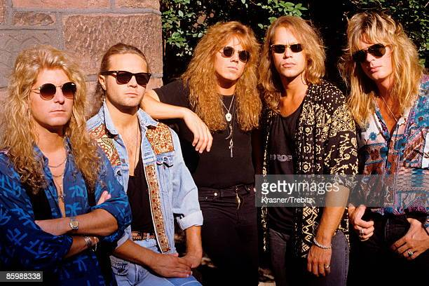 The Rock Band Europe posed in New York 1991 Left Right Kee Marcello Mic Michaeli Joey Tempest Ian Haughland John Leven