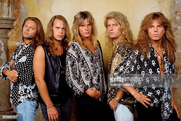 The Rock Band Europe posed in New York 1991 Left Right Mic Michaeli Ian Haugland John Leven Kee Marcello Joey Tempest