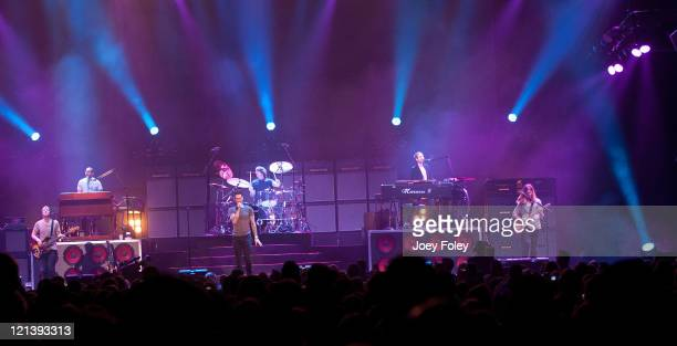 The rock band Maroon 5 performs onstage at Conceso Fieldhouse on August 18 2011 in Indianapolis Indiana