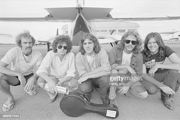 The rock band The Eagles: Bernie Leadon, Don Henley, Glenn Frey, Don Felder, and Randy Meisner.