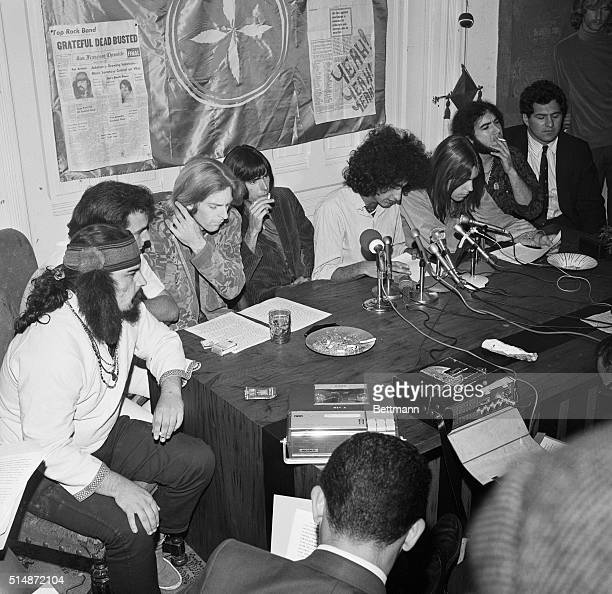 The rock band The Grateful Dead sitting with their attorney and managers complain about a marijuana raid at their home at a press conference in San...