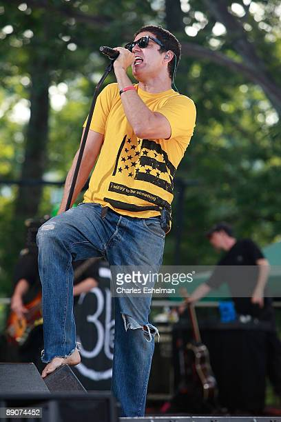 """The rock band Third Eye Blind' Stephan Jenkins performs on ABC's """"Good Morning America"""" at Rumsey Playfield, Central Park on July 17, 2009 in New..."""