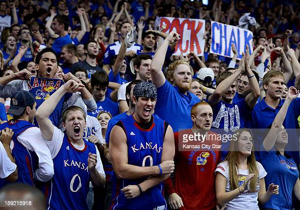 The Rock Chalk nation erupts after Kansas' Ben McLemore hit a threepointer against Iowa State at Allen Fieldhouse on Wednesday January 9 in Lawrence...