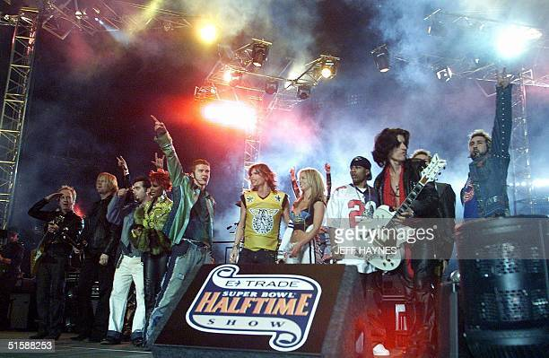 The rock group Aerosmith and singer Britney Spears and Nsync perform during the halftime show at the Super Bowl XXXV 28 January, 2001 at Raymond...