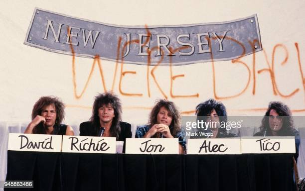 The rock group Bon Jovi during the press conference and recordrelease party to celebrate their new album New Jersey in New York City NY on August 19...