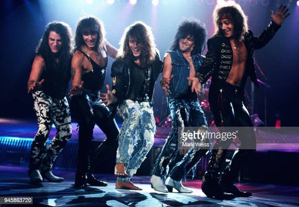 The rock group Bon Jovi during the shoot of the video for the New Jersey albums lead single Bad Medicine in California in September 1988 in California
