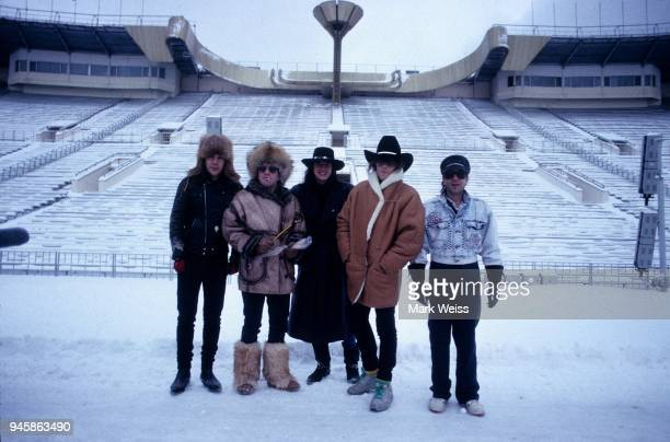 The rock group Bon Jovi pose for a portrait in December 1988 in Moscow Russia