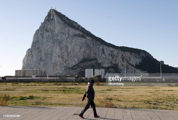The Rock of Gibraltar at La Linea de la Concepcion, Spain, on Wednesday, Dec. 30, 2020. The U.K. And EU are still yet to come to an agreement over...