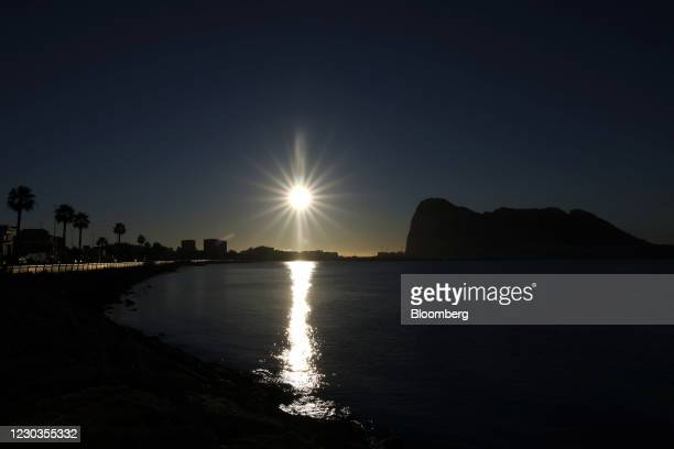 The Rock of Gibraltar at sunrise at La Linea de la Concepcion, Spain, on Wednesday, Dec. 30, 2020. The U.K. And EU are still yet to come to an...