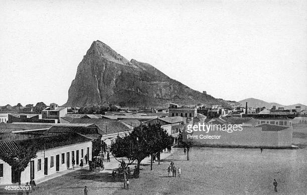 The Rock of Gibraltar from La Linea Bull Ring Spain early 20th century