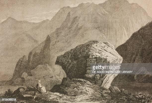 The Rock of Moses Mount Sinai Egypt engraving from Arabie by Noel Desvergers avec une carte de l'Arabie et note by Jomard L'Univers pittoresque...