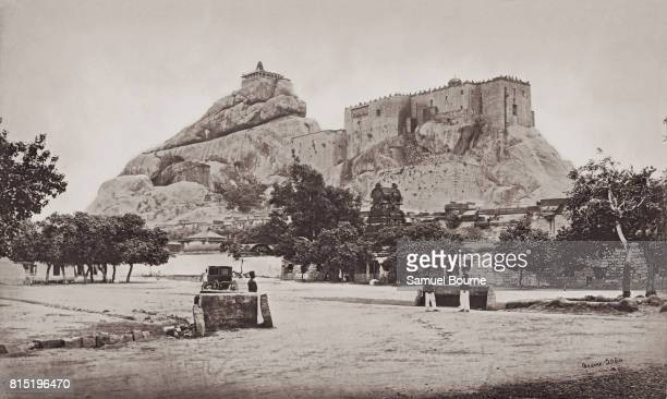 The Rock of Trichinopoly from the east, Tamil Nadu, India, 1869. Surmounting the rock are the Ucchi Pillayar Hindu temple and the Rockfort. Vintage...