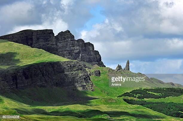 The rock pinnacle Old Man of Storr / Bodach an Stoir Trotternish peninsula on the Isle of Skye Inner Hebrides Scotland UK