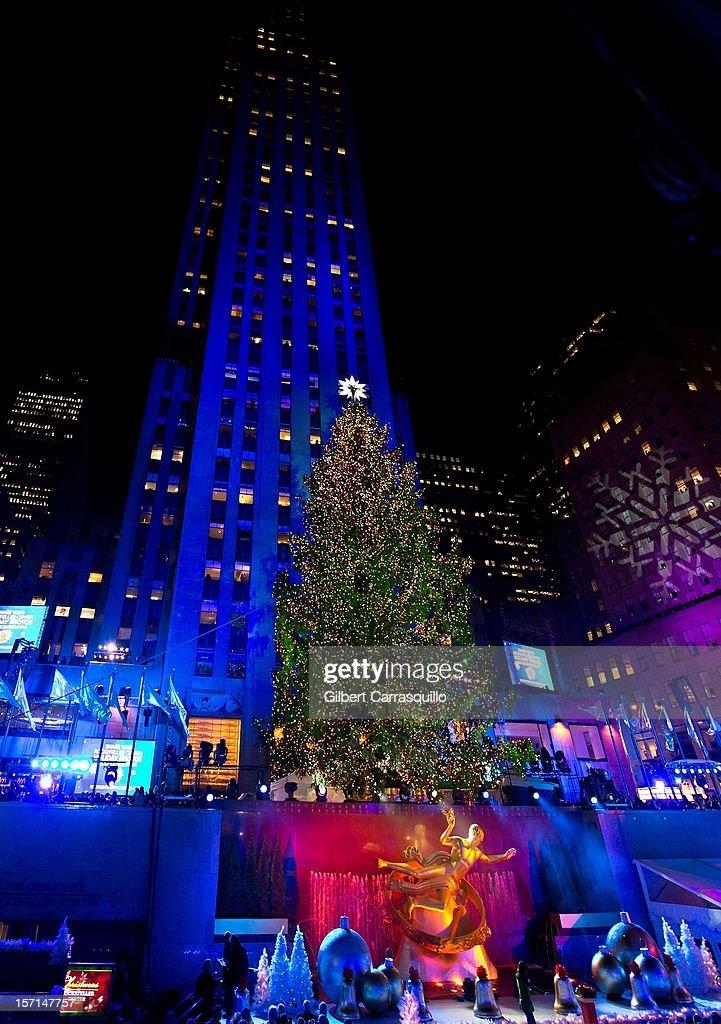 The Rockefeller Center Christmas tree is lit during the 80th annual Rockefeller Center Christmas Tree Lighting & 80th Annual Rockefeller Center Christmas Tree Lighting Photos and ...