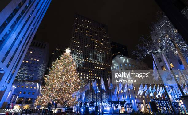 The Rockefeller Center Christmas Tree is pictured after the lights were turned on November 28 2018 in New York