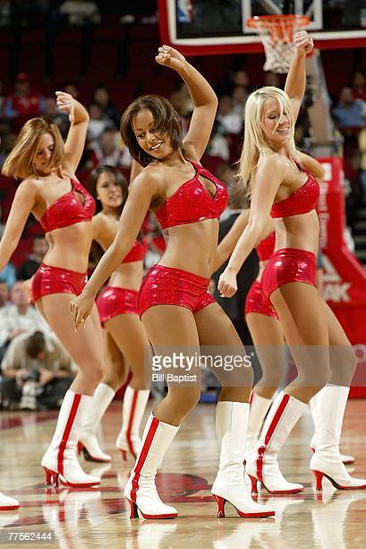 The Rockets Power Dancers perform during a break in the game between the Memphis Grizzlies and the Houston Rockets at the Toyota Center on October 23...