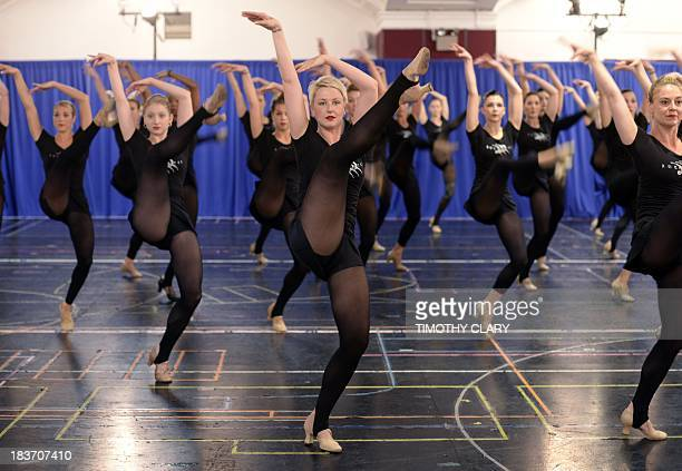 The Rockettes go through rehearsals in New York October 9 2013 in preparation for the Radio City Christmas Spectacular featuring dazzling dance...