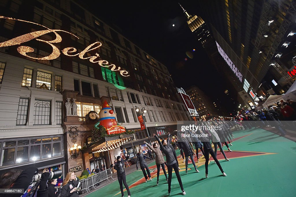 The Rockettes perform at the 89th Annual Macy's Thanksgiving Day Parade Rehearsals - Day 2 on November 24, 2015 in New York City.