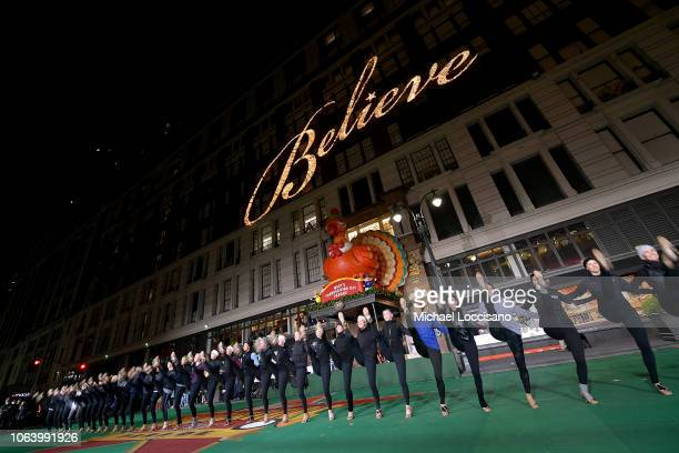 The Rockettes perform during the 92nd Annual Macy's Thanksgiving Day Parade day two of rehearsals on November 20 2018 in New York City