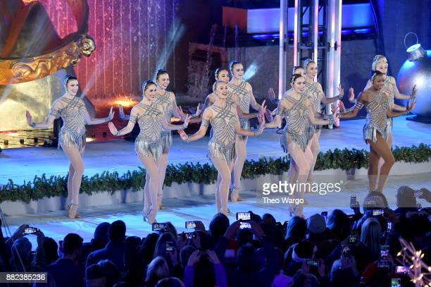 The Rockettes perform osntage during the 85th Rockefeller Center Christmas Tree Lighting Ceremony at Rockefeller Center on November 29 2017 in New...