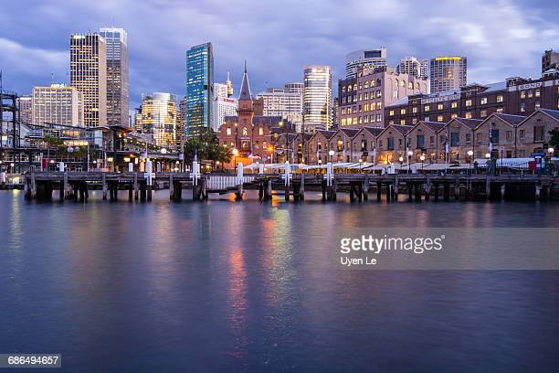 The Rocks area of Sydney, Australia at dusk