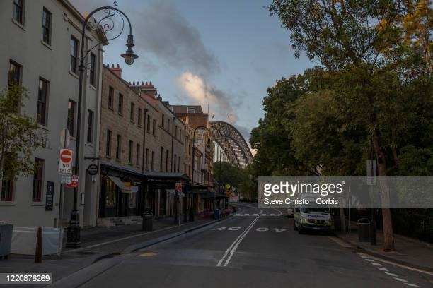 The Rocks district normally full of tourists on March 26, 2020 in Sydney, Australia. Further restrictions on travel and movement have been put in to...