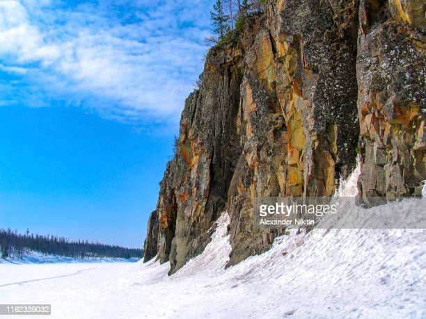 the rocky banks of the taiga river - krasnoyarsk stock pictures, royalty-free photos & images