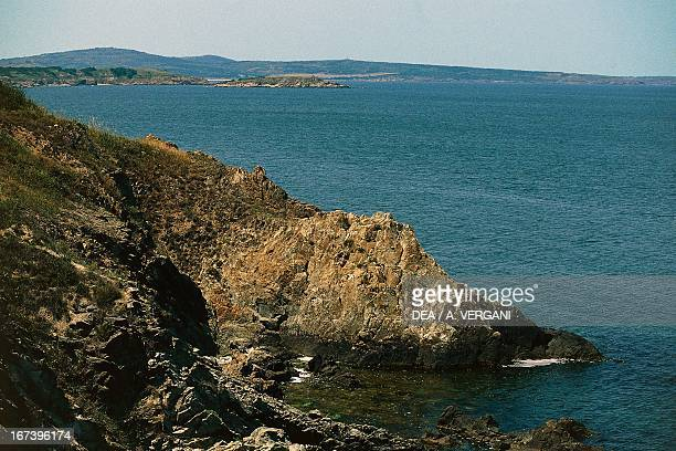 The rocky coast of the Black Sea near the mouth of the Ropotamo River Bulgaria