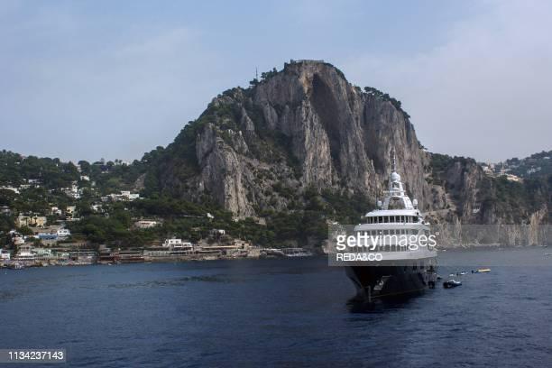 The rocky coast of the island of Capri Marina Piccola Campania Italy Europe