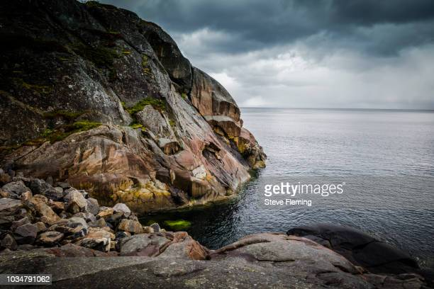 The rocky coastline of the Lofoten Islands, Norway.