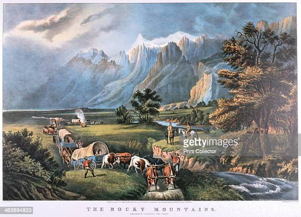 'The Rocky Mountains' c1834c1876 Emigrants crossing the plains watched by Native Americans Published by Currier and Ives New York USA