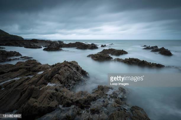 The rocky North Devon coastline at Westward Ho!.