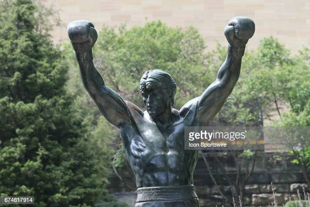 The Rocky Statue outside of the NFL Draft Theater on April 27 2017 in Philadelphia PA