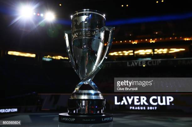 The Rod Laver trophy during previews ahead of the Laver Cup on September 21 2017 in Prague Czech Republic The Laver Cup consists of six European...