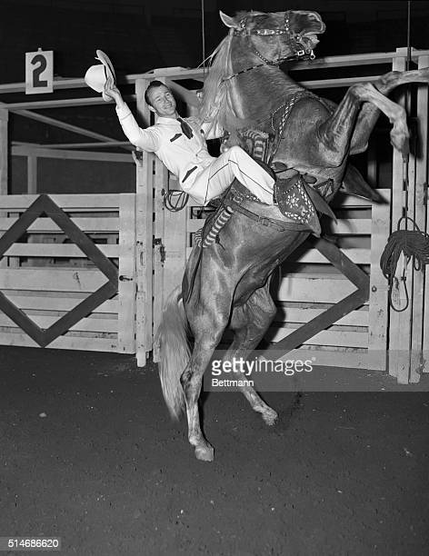 10/6/1942NEW YORK NY The Rodeo starring Roy Rogers singing cowboy star of republic pictures held its dress rehersal at Madison Square Garden Here Roy...