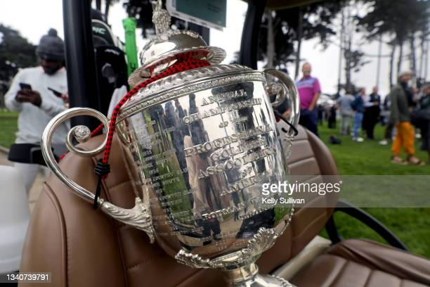 The Rodman Wanamaker Trophy is seen at The Workday Charity Classic, hosted by Stephen and Ayesha Curry's Eat. Learn. Play. And Workday, at Franklin...