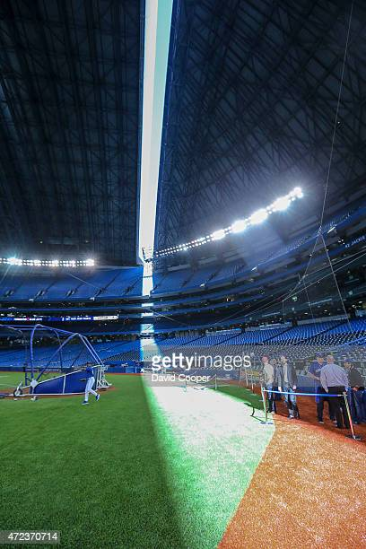 The Rogers Centre roof cracks opens during batting practice before the game between the Toronto Blue Jays and the New York Yankees at the Rogers...