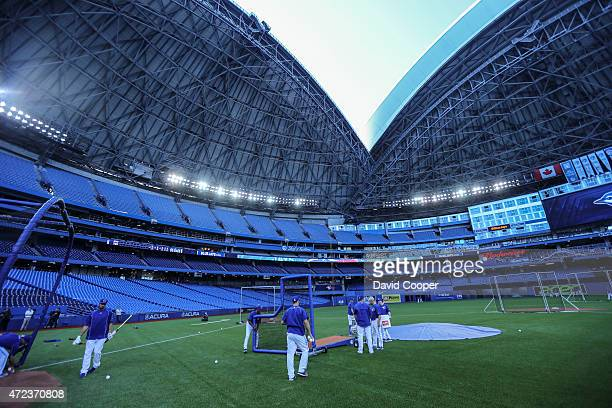The Rogers Centre roof opens during batting practice before the game between the Toronto Blue Jays and the New York Yankees at the Rogers Centre May...