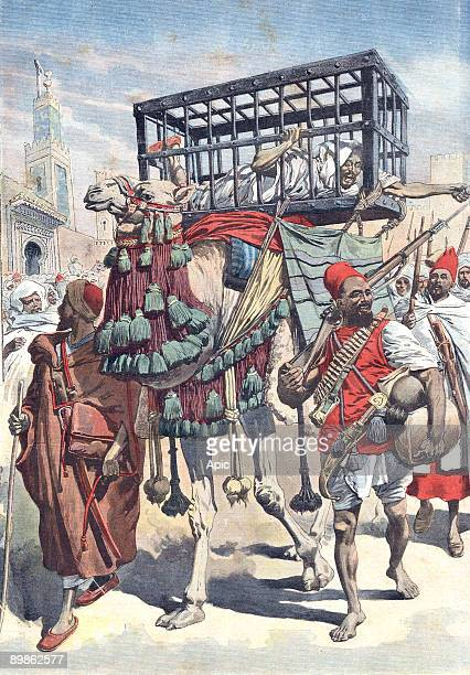the Rogui BouHamara made prisoner and brought in Fez in a cage lastpage of newspaper Petit Journal september 12 1909