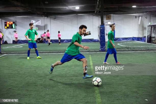 The Rohingya Cultural Center of Chicago soccer team plays on January 12 2019 in Chicago Illinois Chicago has one of the largest number of Rohingya...