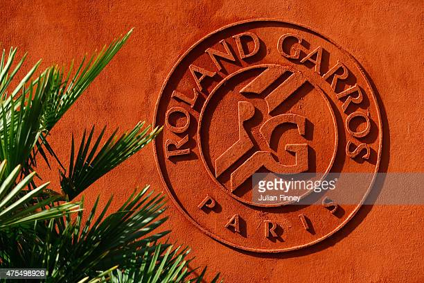 The Roland Garros logo is seen outside the VIP village on day nine of the 2015 French Open at Roland Garros on June 1 2015 in Paris France