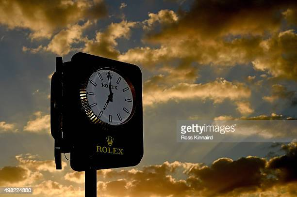 The 'Rolex Clock' pictured as the first group are about to tee off during the final round of the DP World Tour Championship on the Earth Course at...