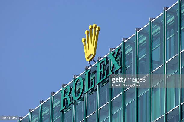 The Rolex logo is displayed on its headquarters on March 24 2009 in Geneva Switzerland The watch makers are facing difficult times amid the economic...