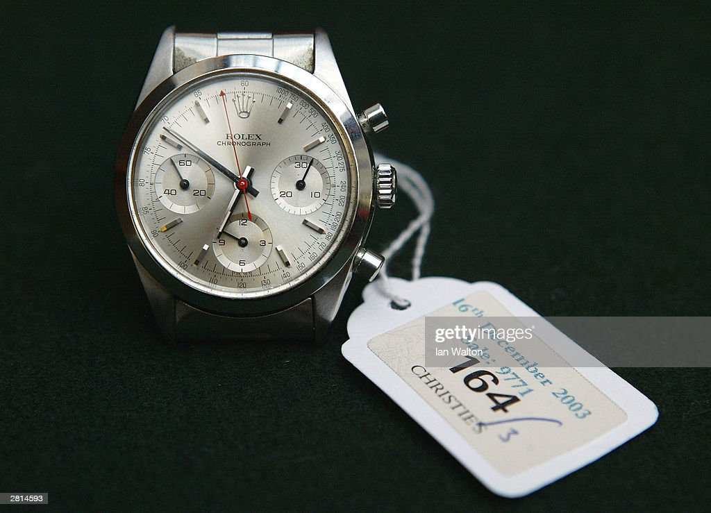The Rolex wristwatch worn by George Lazenby during the film 'On Her Majesty's Secret Service' is seen on display at an auction at Christie's auction house December 16, 2003 in London. Christie's annual Film and Entertainment auction takes place today at the South Kensington showroom.
